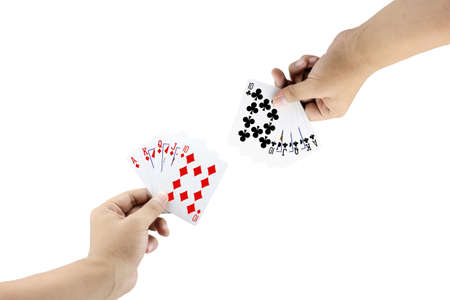 straight flush: The battle between Royal Straight Flush of diamond and Royal Straight Flush of clubs in poker game on white background,Focused on card Stock Photo