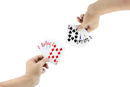 straight flush: The battle between Royal Straight Flush of diamond and Royal Straight Flush of spade in poker game on white background,Focused on card
