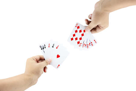 four of a kind: The battle between Four of a kind and Royal Straight Flush of diamond in poker game on white background,Focused on card