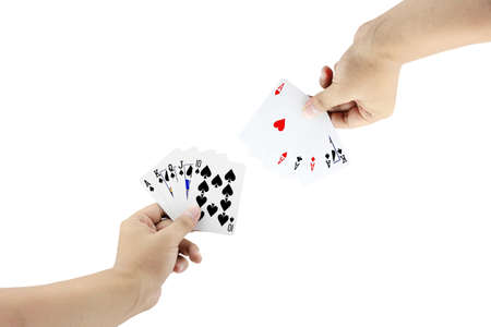 straight flush: The battle between Royal Straight Flush of spade and Four of a kind in poker game on white background,Focused on card