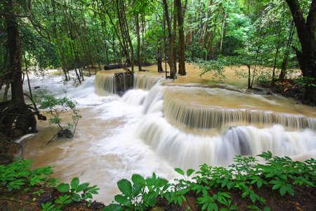 khamin: A beautiful view of Huay Mae khamin waterfall at Kanchanaburi province in Thailand