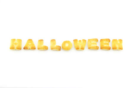 english text: English text word Halloween is made of biscuits. On white background