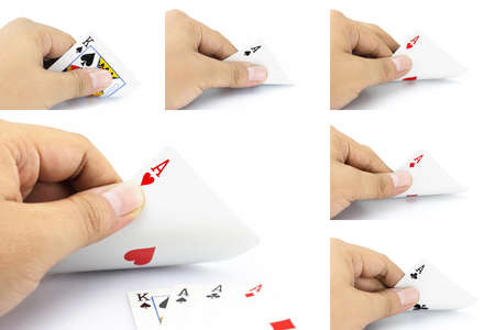 four of a kind: The combination of cards will come as a Four of a kind in poker game, Focuses on card in the hand. Stock Photo