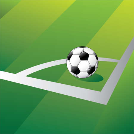 offside: A football located at the corner In the position of a corner kick. Vector illustration