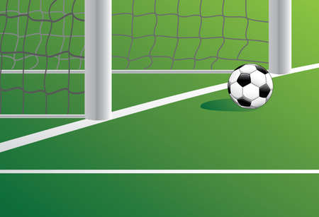 offside: A football located at the goal. Vector illustration
