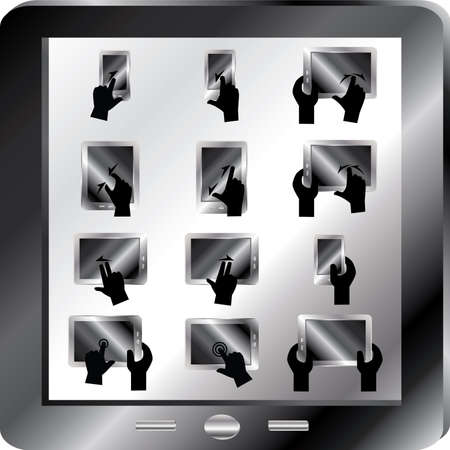 hi five: Gesture fingers icons for touch devices