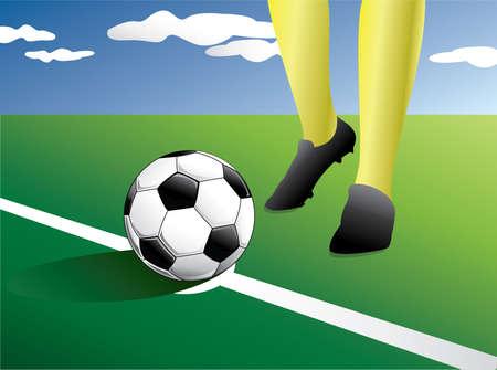 corner kick: Soccer player In a manner to kick start a football player. Vector illustration Illustration