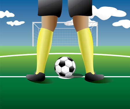 Soccer player In the manner for the penalty kick.Vector illustration