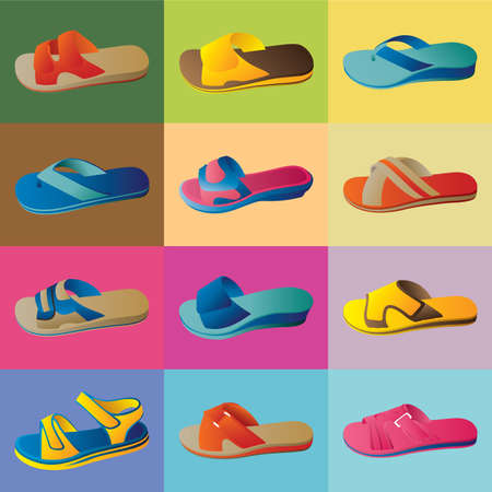 bathe: Slippers vector for your design. Vector illustration.