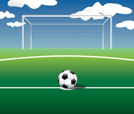 offside: Soccer ball set in a position to kick the penalty.Vector illustration