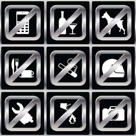 prohibiting: Set of icons with prohibiting different designations Illustration