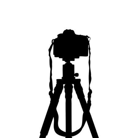 photoshoot: Vector silhouettes of dslr photo camera on tripod isolate on white background.