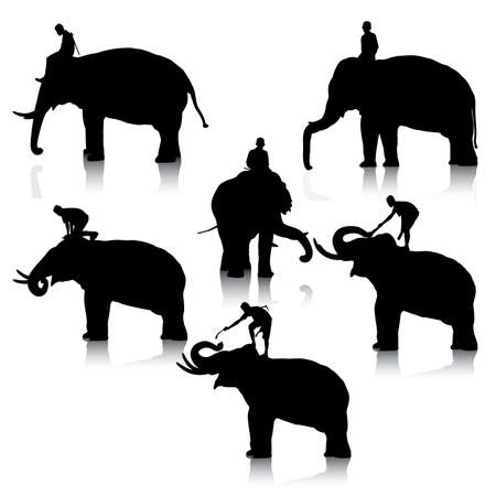 black mammoth: Set of editable vector silhouettes of elephant and mahout young boy on white background Illustration