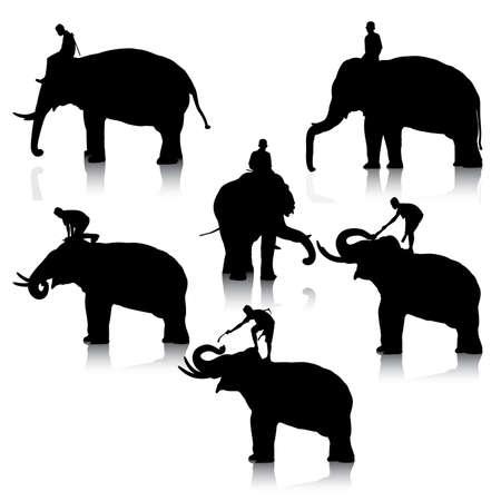 흰색 배경에 코끼리와 조련사 어린 소년의 편집 가능한 벡터 실루엣의 집합