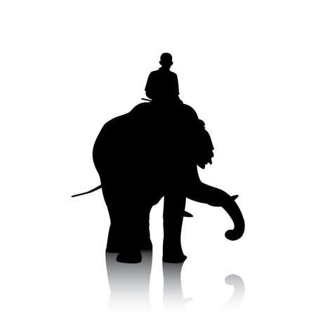 black mammoth: Vector silhouettes of elephant and mahout young boy on white background
