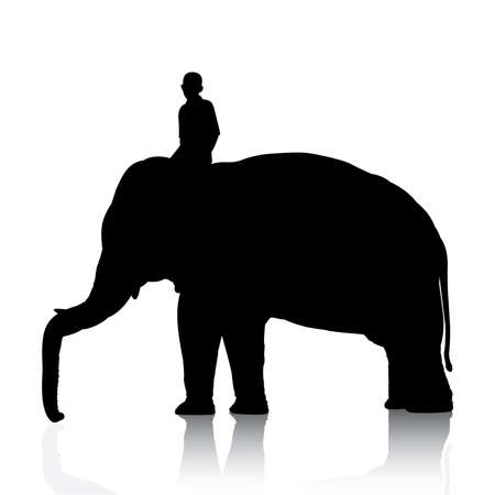 mahout: Vector silhouettes of elephant and mahout young boy on white background