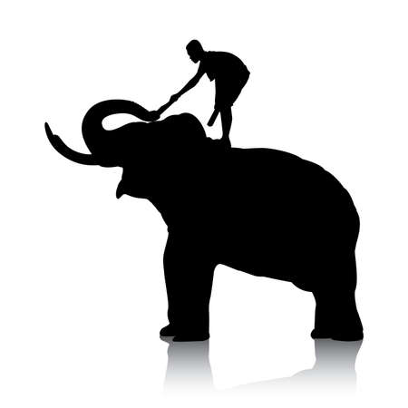 straddle: Vector silhouettes of elephant and mahout young boy on white background