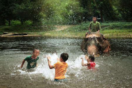 youngs: Unidentified youngs mahout enjoying splashing water with elephants in the forest at Kanchanaburi province in Thailand on May 24, 2015,