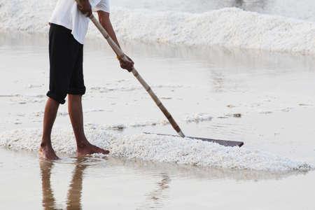 Workers lap salt In the naklua at Samut Songkhram province in Thailand