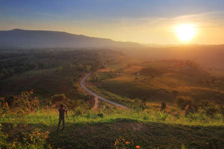 beautiful location: The beauty of the natural environment during sunrise and sunset at Khao Kho District ,Phetchabun Province in Thailand is a beautiful location and very popular for photographers and tourists