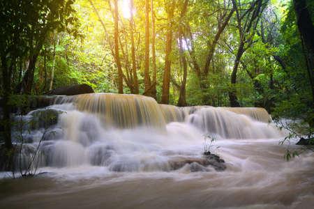 khamin: A beautiful view of Huay Mae khamin waterfall at Kanchanaburi province in Thailand. traveling and attractions concept