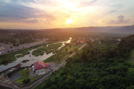 Beautiful scenery during time the sunset view from top of Khun Dan Prakan Chon Dam at Nakhon Nayok province in Thailand is a very popular for photographers and tourists. Attractions and energy Concept