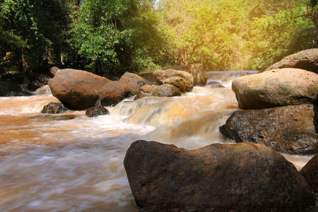 beautiful location: A beautiful view of Nang Rong Waterfall at Nakhon Nayok province in Thailand. is a beautiful location and very popular for photographers and tourists. Traveling and recreation Concept