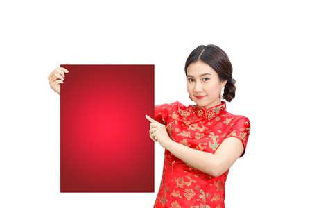 Asiatische Dame Im Roten Kleid Cheongsam (Qipao) Rot Leeren Brett ...
