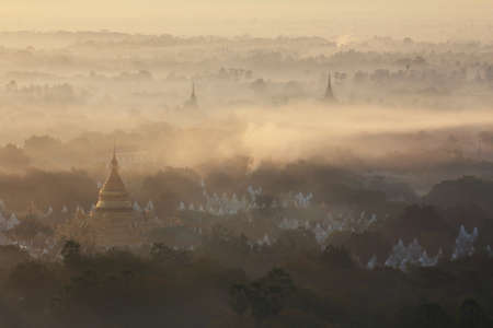 beautiful location: Beautiful scenery during sunrise,sunset of top view at Mandalay hill in Myanmar. is a beautiful location and very popular for tourists and photographer
