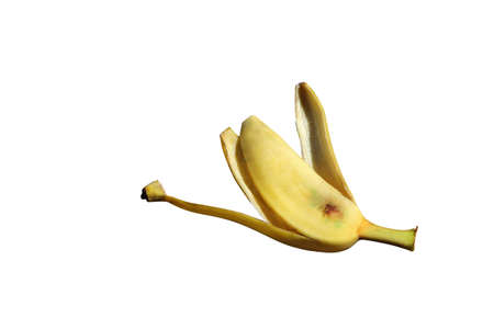 accidental: Banana peel isolated on white background (with clipping path).
