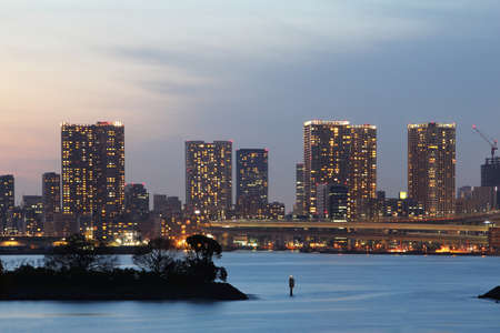 Beautiful scenery during twilight time at Tokyo city in Japan. This landmark is a very popular for photographers and tourists. Travel and transportation Concept Stock Photo