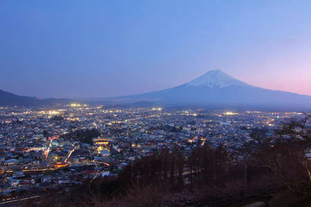 sengen: Beautiful scenery during twilight time of Arakurayama Sengen Park Mountain Fuji view point at Fujiyoshida in Japan.This is a very popular for photographers and tourists. Travel and Attraction Concept. Stock Photo
