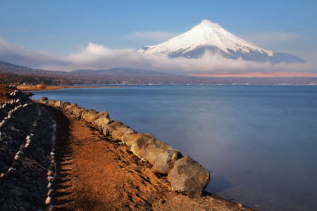 Beautiful scenery of Mountain Fuji on the lake Yamanakako in japan. This is a very popular for photographers and tourists. Travel and Attraction Concept