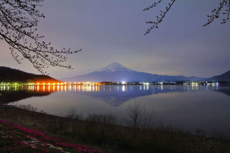 Beautiful scenery during night time of Mountain Fuji at kawaguchiko lake in Japan.This is a very popular for photographers and tourists. Travel and natural Concept