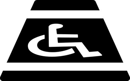 Disabled icon, Human on wheelchair symbol. Illustration