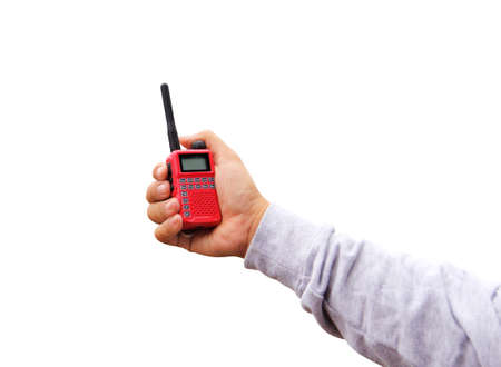 Radio communication(walkie-talkie radio) in hand, isolated on white background with clipping path.