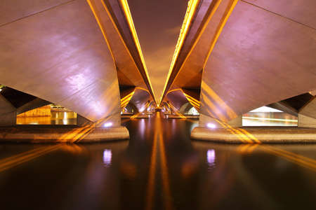 Structure of under the Esplanade bridge at Singapore with beautiful light and shadow at night.