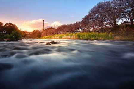 Beautiful scenery of Mountain Fuji and movement of water at Uruigawa river in Japan. This is a very popular for photographers and tourists. Travel and natural Concept