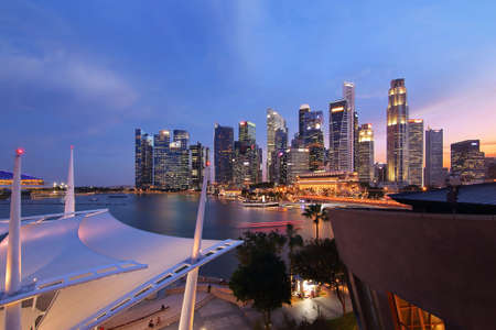 Singapore - July 31, 2017: Singapore cityscape during twilight of Marina Bay from Esplanade is famous landmark and very popular for photographers and tourists of Singapore city Editorial