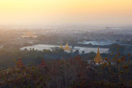 Top view in beautiful countryside in the morning at Mandalay hill in Myanmar,is a beautiful location and very popular for photographers and tourists. Traveling and attraction Concept