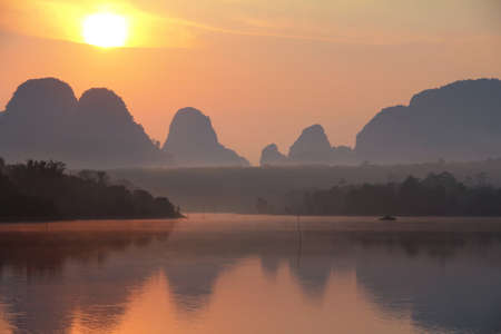 Beautiful nature during sunrise at Ban Nong Thale Krabi Province in Thailand is a beautiful location and very popular for photographers. Traveling and attractions concept