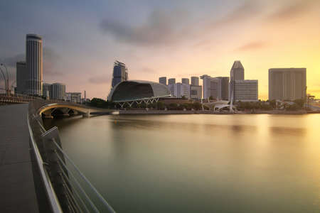 Singapore - July 30, 2017: Marina bay during sunrise is famous landmark and very popular for photographers and tourists of Singapore city