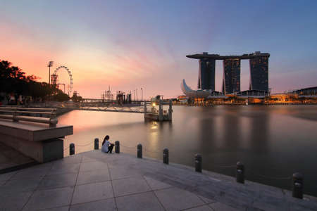 Singapore - July 30, 2017: Marina bay sand of Singapore during sunrise is famous landmark and very popular for photographers and tourists of Singapore city Editorial