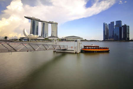 Singapore - July 31, 2017: Singapore daylight cityscape of Marina Bay is famous landmark and very popular for photographers and tourists of Singapore city