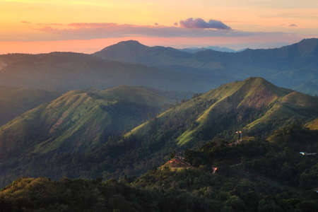 Beautiful scenery during sunset at Nern Chang Suek Mountain in Pilok, Kanchanaburi province in Thailand is a very popular for photographers and tourists. Attractions and natural Concept