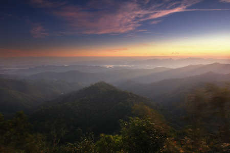 Beautiful scenery during sunrise of kooddoi hill at Thongphaphum national park , kanchanaburi province in Thailand is a very popular for photographers and tourists.