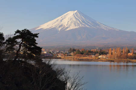 Beautiful scenery during the daytime at Mountain Fuji in kawaguchiko lake of Japan. This is a very popular for photographers and tourists. Travel and Attraction Concept Stock Photo