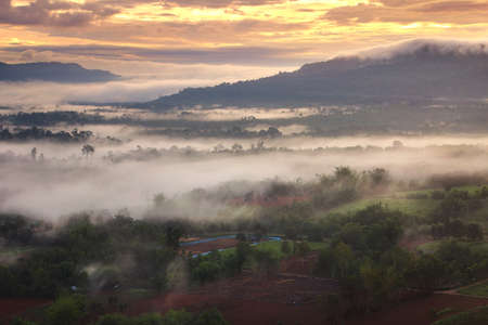 Beautiful scenery during sunrise time at Khao Takhian Ngo , Khao Kho District ,Phetchabun Province in Thailand is a very popular for photographers and tourists. Attractions and natural Concept Stock Photo
