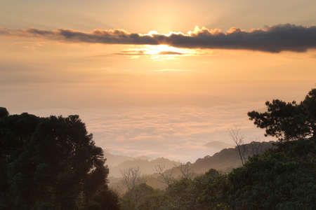 Beautiful scenery of the mist during sunrise at Huai Nam Dang National park ,Chiang Mai in Thailand. Here is the very popular for photographers and tourists. Attractions and natural Concept
