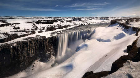 Beautiful scenery of Dettifoss waterfall near Selfoss is located in Vatnajökull National Park in north of Iceland. Travel and natural Concept. Stock Photo